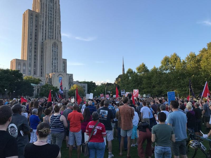 The crowd gathered at Schenley Plaza to stand in solidarity with counter-protesters of Saturday's white nationalist rally in Charlottesville, Va.