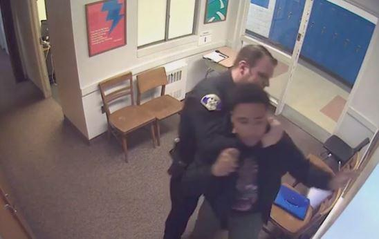 Woodland Hills school resource officer Steve Shaulis, of the Churchill Police Department, is captured in an altercation with a student on surveillance footage.