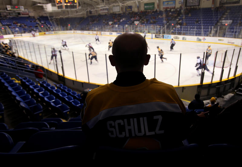In this March 3, 2010, photo, Robert Shulz, Johnstown Chiefs fan and father of Chiefs defenseman David Shulz, watches a game in Johnstown, Pa.