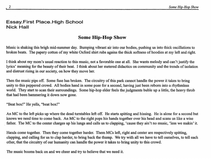 English Essay Examples Nick Halls Some Hip Hop Show Won First Place For High School Prose In   Persuasive Essay Topics High School Students also English Essay Writing Help  Years Of Student Poetry And Prose On Race And Identity Compiled  Essays On Science Fiction