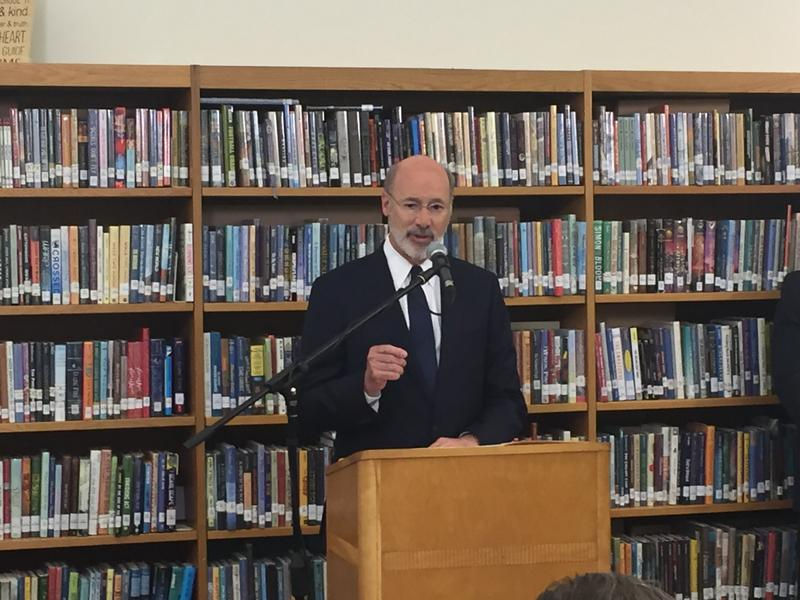 Governor Wolf speaking at an event at Morrow School on Thursday, Aug. 17, 2017.