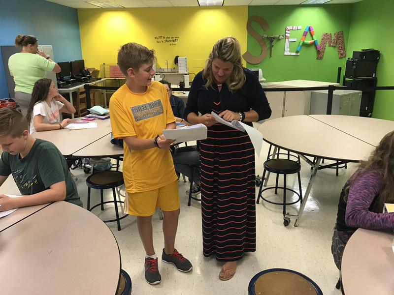 Kailen Fiedler teaches Innovate Ed at Hopewell Junior High School. This is the second year all students have been required to take the class that incorporates science, technology, engineering, arts and math.
