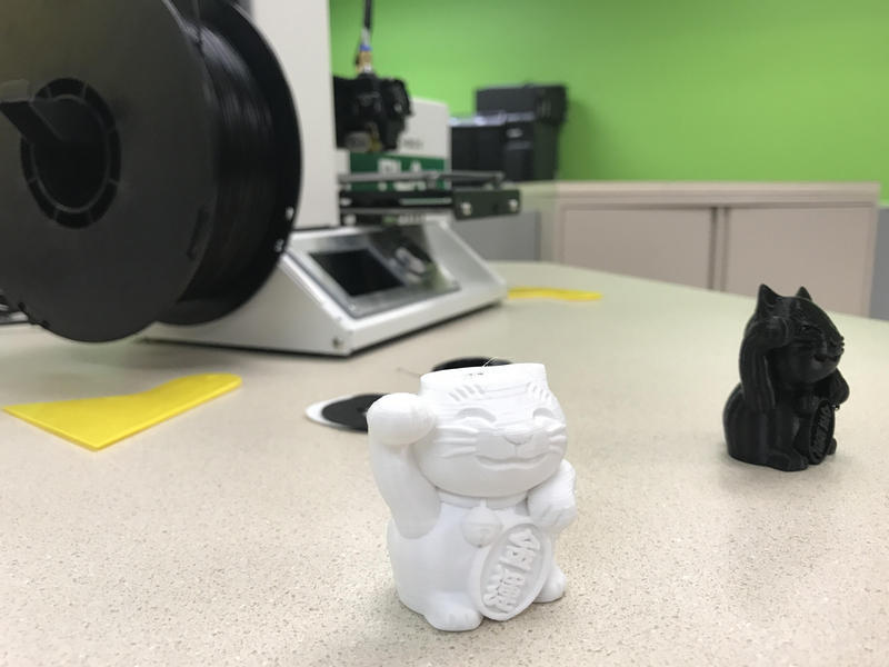 A trinket printed by a 3D printer at Hopewell Junior High School.