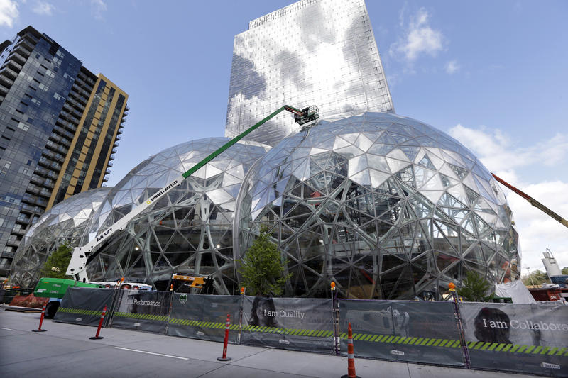 Construction continues on Amazon's expanded campus in downtown Seattle on Thursday, April 27, 2017. The tallest of the three interconnected spheres will be 90 feet high and 130 feet in diameter, including a botanic garden of waterfalls and treehouses.