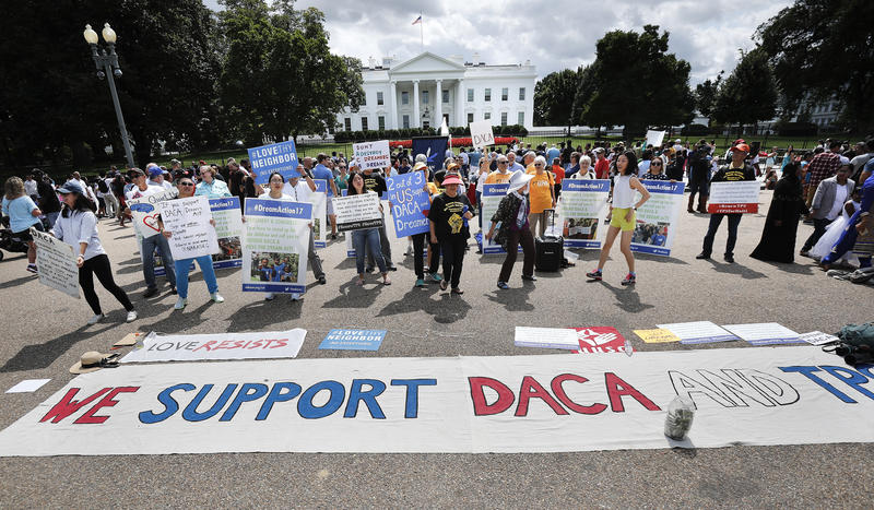 Supporters of the DACA program demonstrate on Pennsylvania Avenue in front of the White House in Washington on Sunday, Sept. 3, 2017.