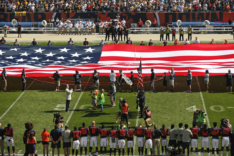 The Pittsburgh Steelers side of the field is nearly empty during the playing of the national anthem before an NFL football game between the Steelers and Chicago Bears, Sunday, Sept. 24, 2017.