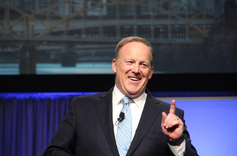 Former White House Press Secretary Sean Spicer addressed the 2017 Shale Insight conference at the David L. Lawrence Convention Center in Pittsburgh on Thursday, Sept. 28, 2017.