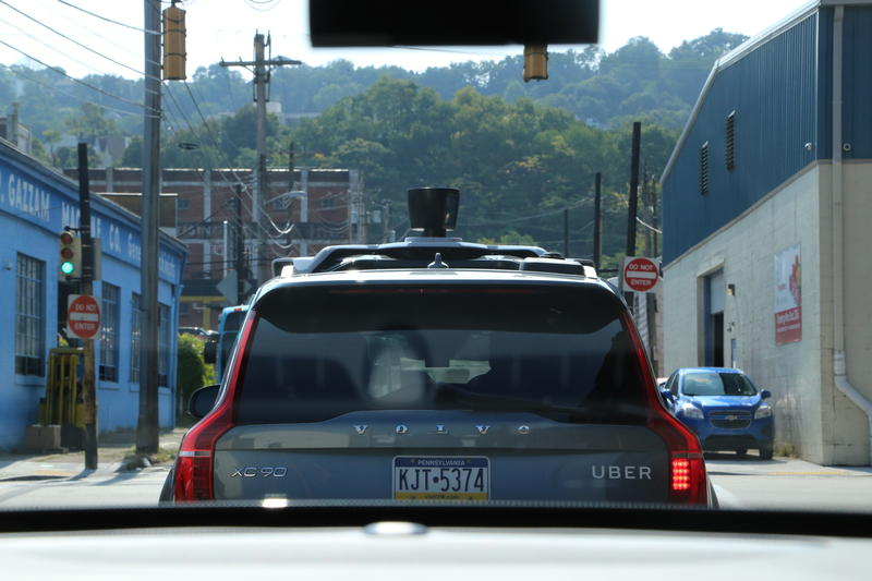 A self driving-car carries passengers through the Strip District from the company's Advanced Technologies Center on Wednesday, Sept. 20, 2017.