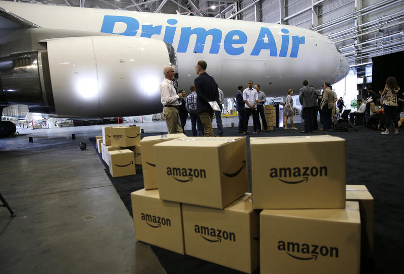 Pictured are boxes next to a cargo plane in a hangar in Seattle. Pittsburgh is hoping to be considered as the location for the company's new, second headquarters.