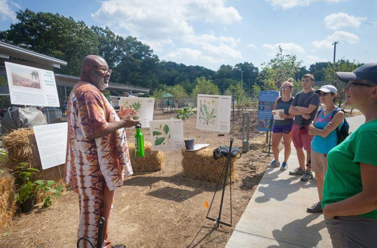 Samuel W. Black greets visitors to the 'From Slavery to Freedom' garden at the Frick Environmental Center.