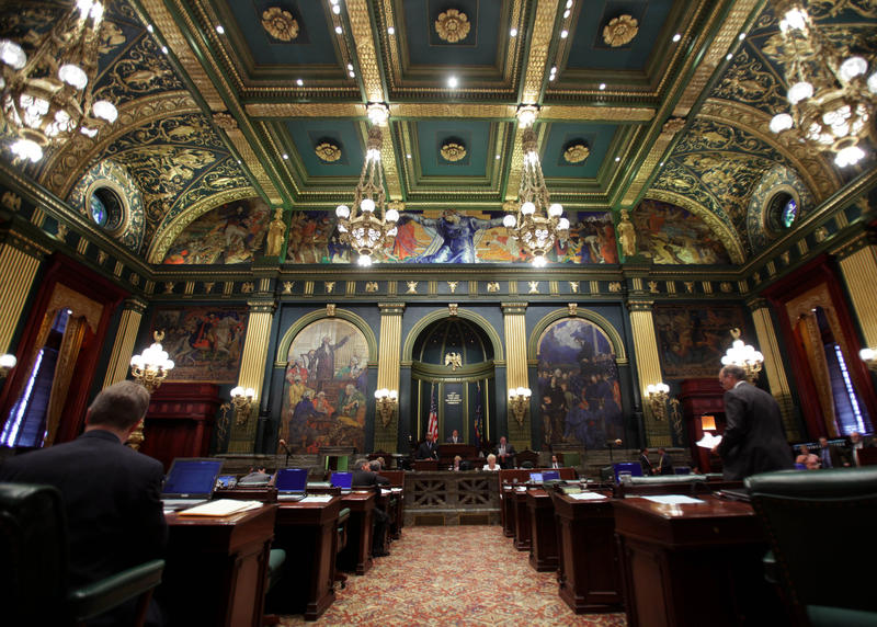 Pennsylvania Senate chambers are seen at the state Capitol in Harrisburg on Friday, July 17, 2009.