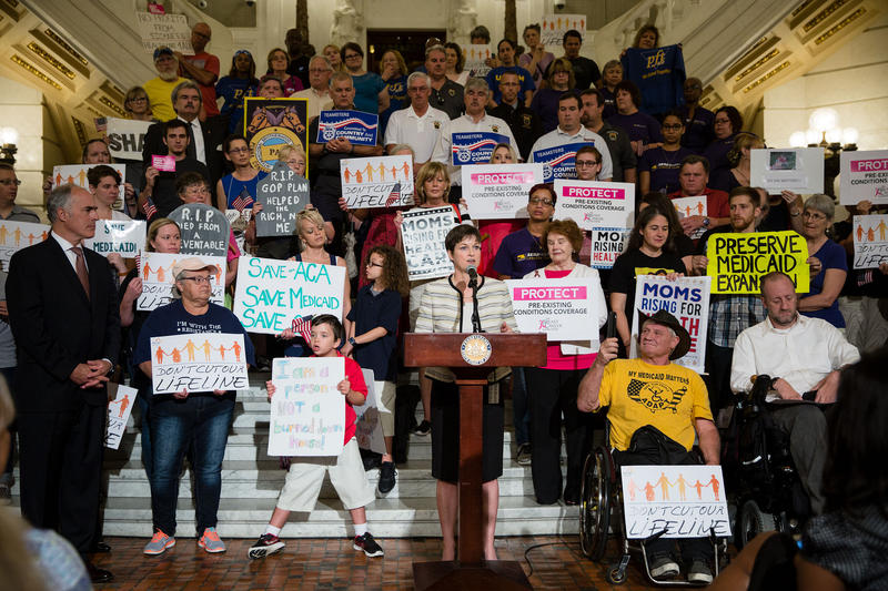 Health care advocates rally in the rotunda of the state Capitol building in Harrisburg, Pa., on June 23, 2017.
