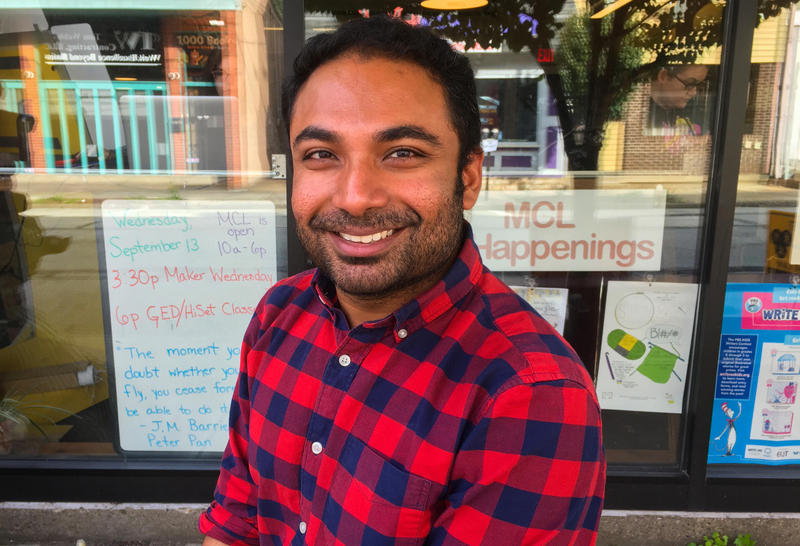 Zaheen Hussain outside the Millvale Community Library.