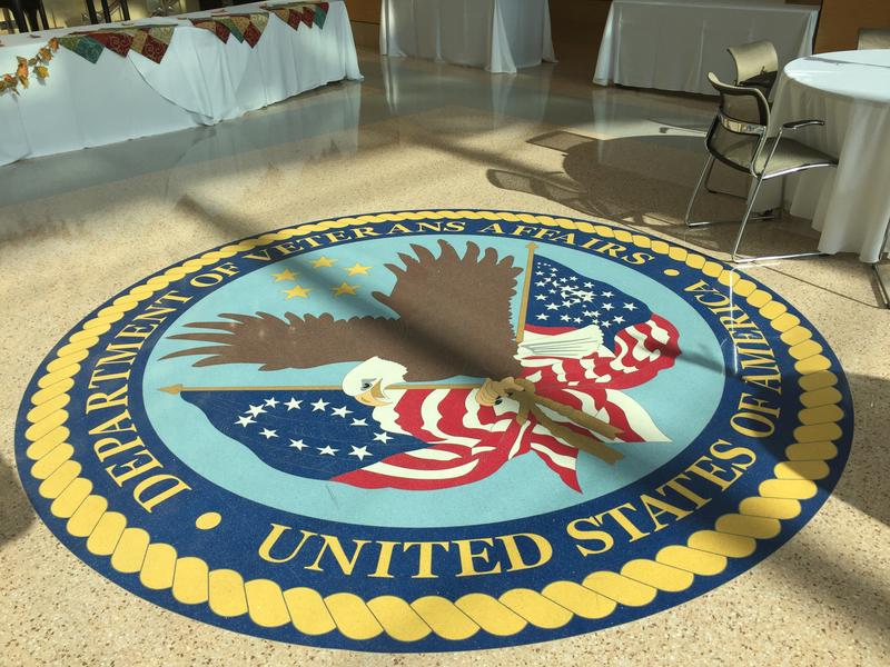 The U.S. Department of Veterans Affairs insignia at the Pittsburgh VA hospital.