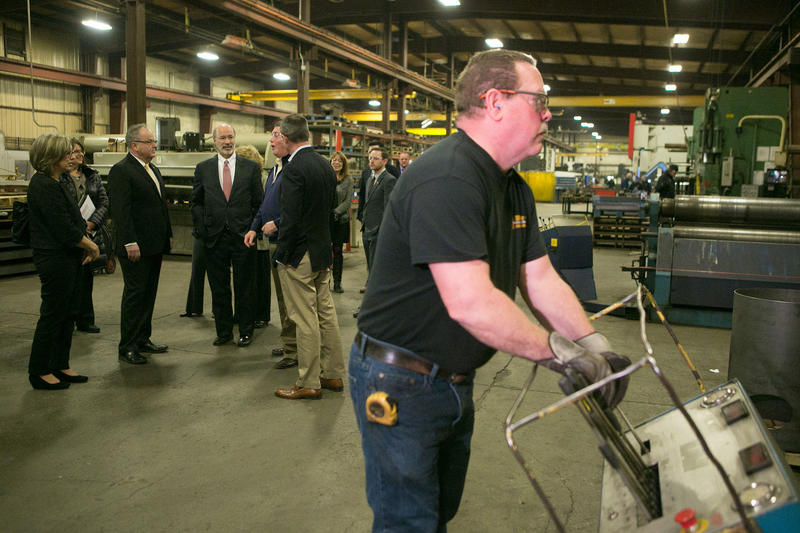Gov. Tom Wolf visits a waste gas fabricating plant in Fairless Hills, Pa. for his Jobs that Pay tour on Jan. 15, 2016.