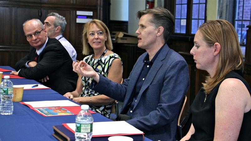 A panel of professors at the University of Pennsylvania discuss the opioid addiction epidemic. From L-R, dental surgeon Elliot Hersh, psychiatrist Kyle Kampman, registered nurse Peggy Compton, chemist Jeffrey Saven and vet Mary Robinson.