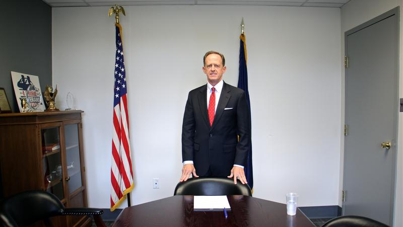 U.S. Sen. Pat Toomey in a conference room at this Philadelphia office.