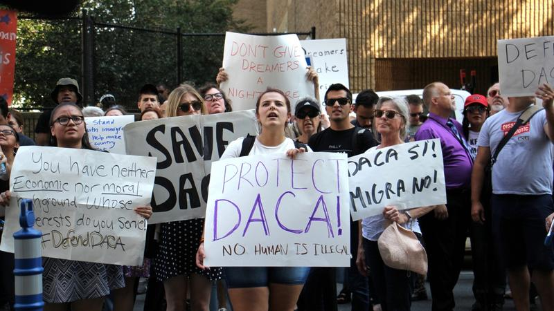 Protesters march in Philadelphia to demand protection for immigrants who arrived in the U.S. illegally as children and have been given a path to citizenship through DACA, or Deferred Action for Childhood Arrivals.