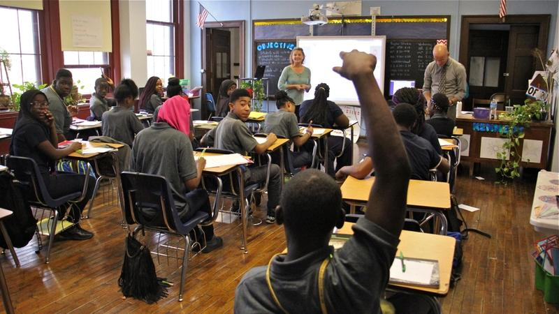Students attend class at Belmont Charter School in West Philadelphia.