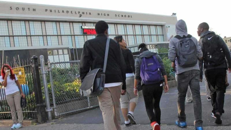 Students approach South Philadelphia High School.