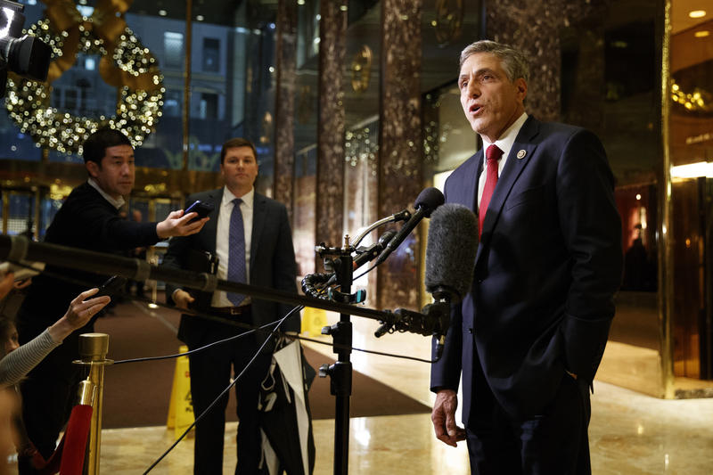 Demonstrators staked out Republican Congressman Lou Barletta's office Thursday, Sept. 28, 2017. In this photo, he speaks with media after meeting with then President-elect Donald Trump in November, 2016.