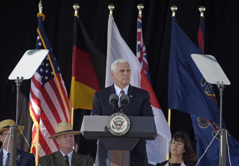 Vice President Mike Pence speaks during the service of remembrance tribute to the passengers and crew of United Flight 93 at the Flight 93 National Memorial in Shanksville, Pa., Monday, Sept. 11, 2017.