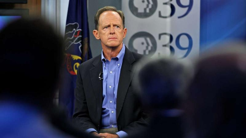 U.S. Sen. Pat Toomey holds a televised town hall with about 50 constituents on Thursday, Aug. 31, 2017.