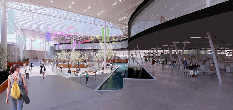 Renderings for Pittsburgh International Airport's $1.1 billion makeover show more natural light and softer colors in the landside atrium presented to the public Tuesday, Sept. 12, 2017.