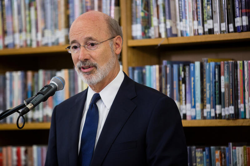 Gov. Tom Wolf speaks about standardized test reduction while in Pittsburgh on Aug. 17, 2017.