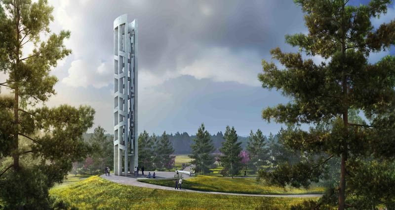 An artist rendering depicts what the Tower of Voices will look like at the Flight 93 memorial in Shanksville, Pa.