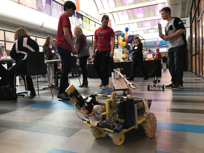 Students from Cornerstone Preparatory Academy in West Mifflin steer a robot they programmed at school. Tuesday, 26 schools showcased how they used their $20,000 STEAM grants from the Allegheny Intermediate Unit.