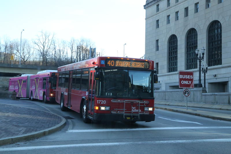A bus exits the East Busway in downtown Pittsburgh.