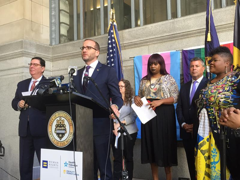 Human Rights Campaign president Chad Griffin announces Pittsburgh's high score on the Municipal Equity Index at the City-County Building in Downtown Pittsburgh on Thursday, Oct. 19, 2017.