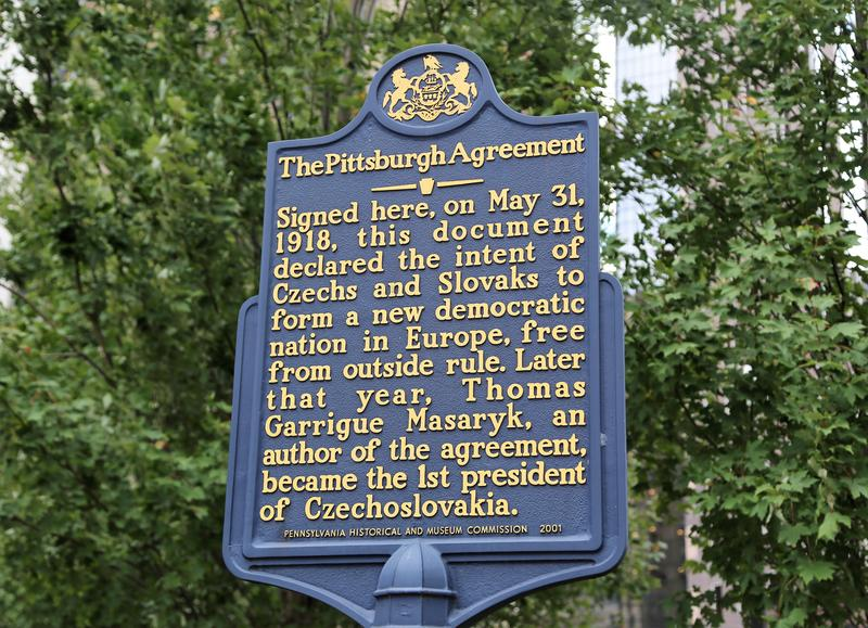 A national historical marker about The Pittsburgh Agreement, a document that helped create the country of Czechoslovakia from the Czech nation and Slovakia, in 1918. It helped the two countries preserve their cultural identities during wartime.