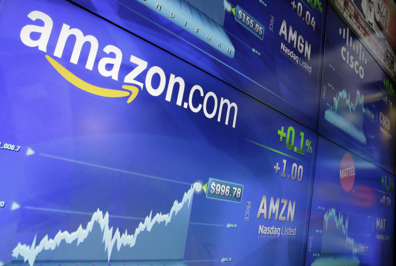 In this Tuesday, May 30, 2017, file photo, the Amazon logo is displayed at the Nasdaq MarketSite in New York's Times Square.