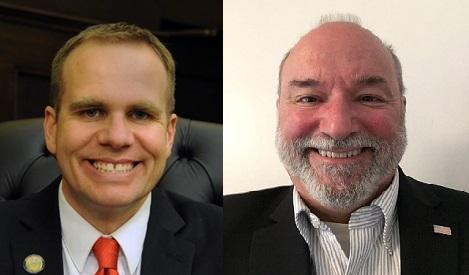 Republican Tom Baker (left) and Democrat Jack Betkowski (right) are running for a seat representing District 1 on Allegheny County Council.