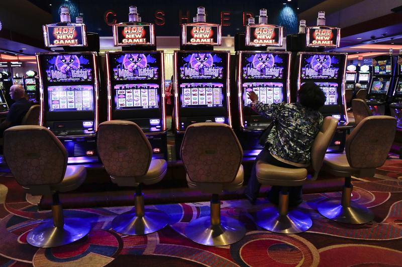 Seen are slot machines at the Resorts World Casino in the Queens borough of New York.