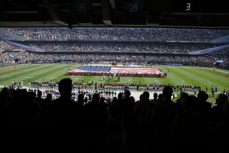 The Pittsburgh Steelers side of the field is nearly empty during the playing of the national anthem before an NFL football game between the Steelers and the Chicago Bears, Sunday, Sept. 24, 2017.