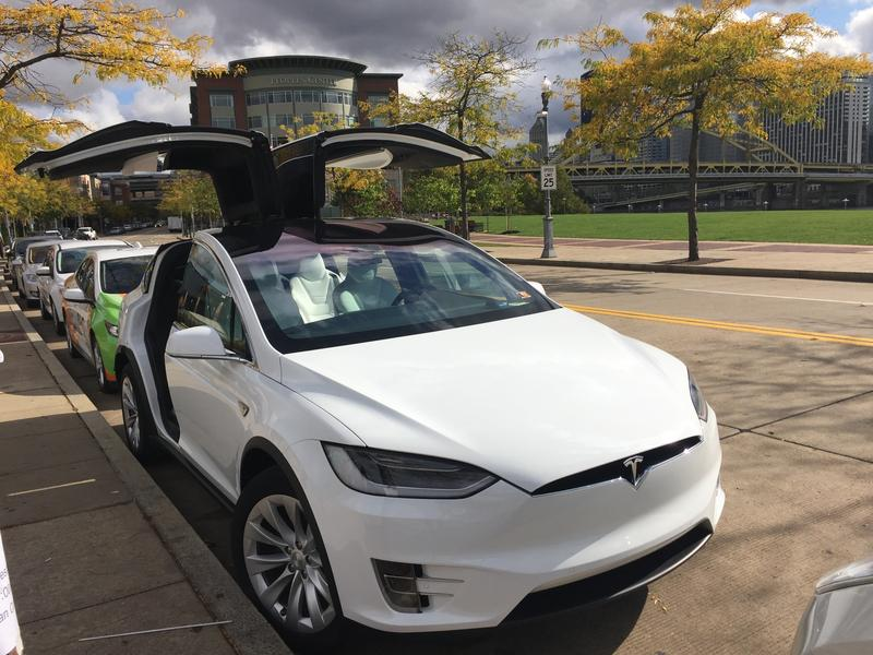 A Tesla parked on Pittsburgh's north shore on Tuesday, Oct. 24, 2017.