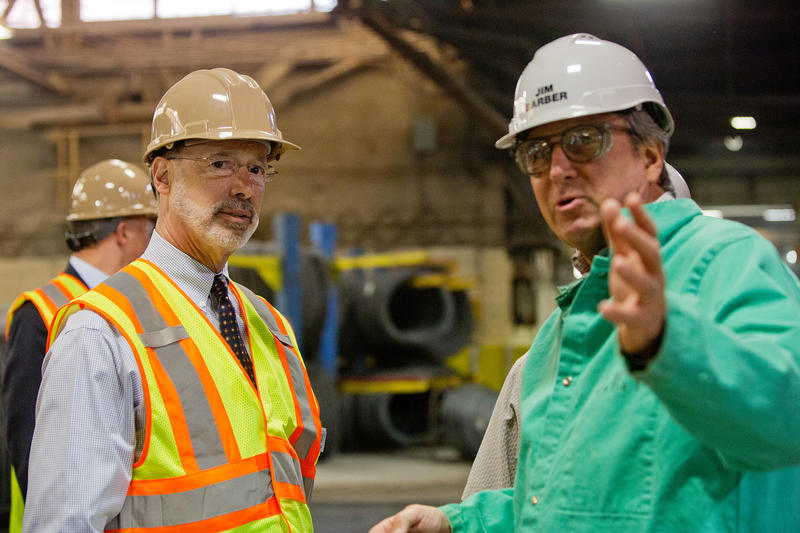 "Gov. Tom Wolf visits Johnstown Wire Technologies as part of his ""Jobs that Pay"" tour, on April 22, 2015."