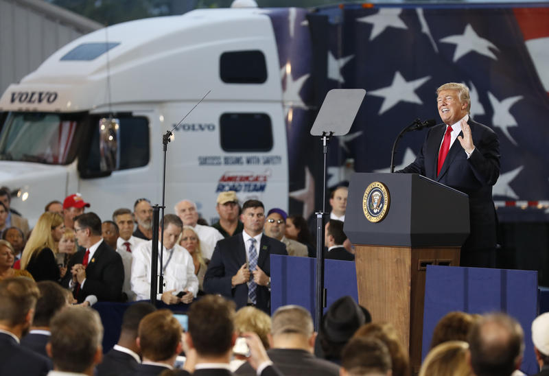 President Trump pitches his tax plan to truckers and conservative politicians on Wednesday, October 11 at Harrisburg International Airport in Middletown, Pa.