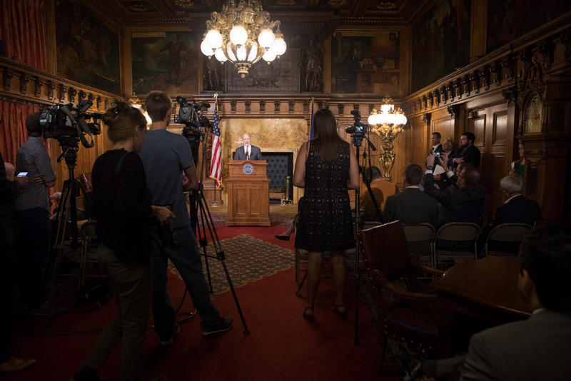 Pennsylvania Gov. Tom Wolf addresses members of the media at the Capitol building in Harrisburg on Wednesday, Oct. 4, 2017.