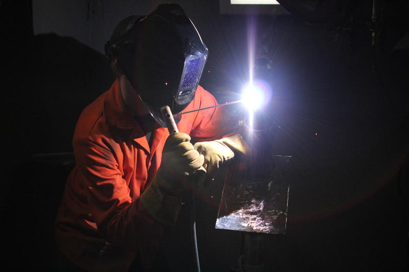 A student works at Steamfitters Local 449's training center in Harmony, PA.