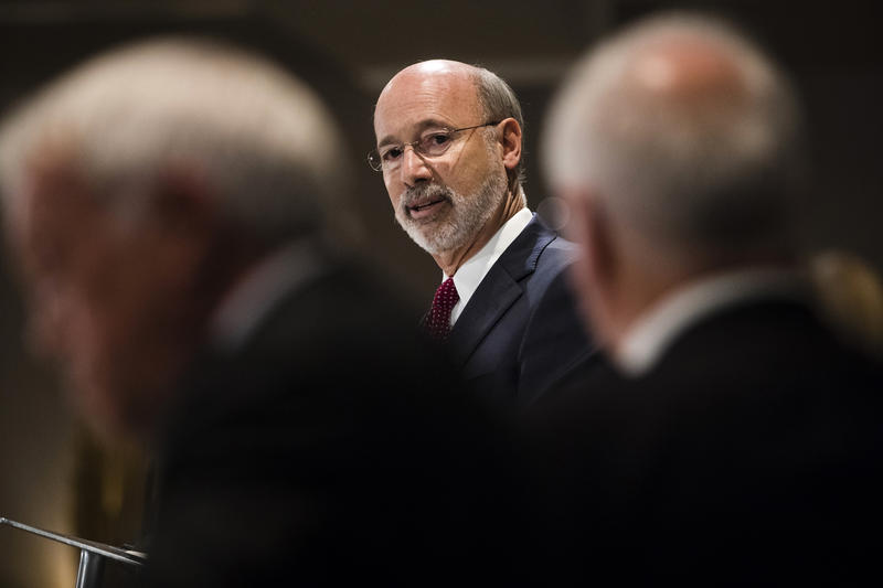 Pennsylvania Gov. Tom Wolf takes questions at a Pennsylvania Press Club luncheon in Harrisburg, Pa., Monday, Oct. 30, 2017.