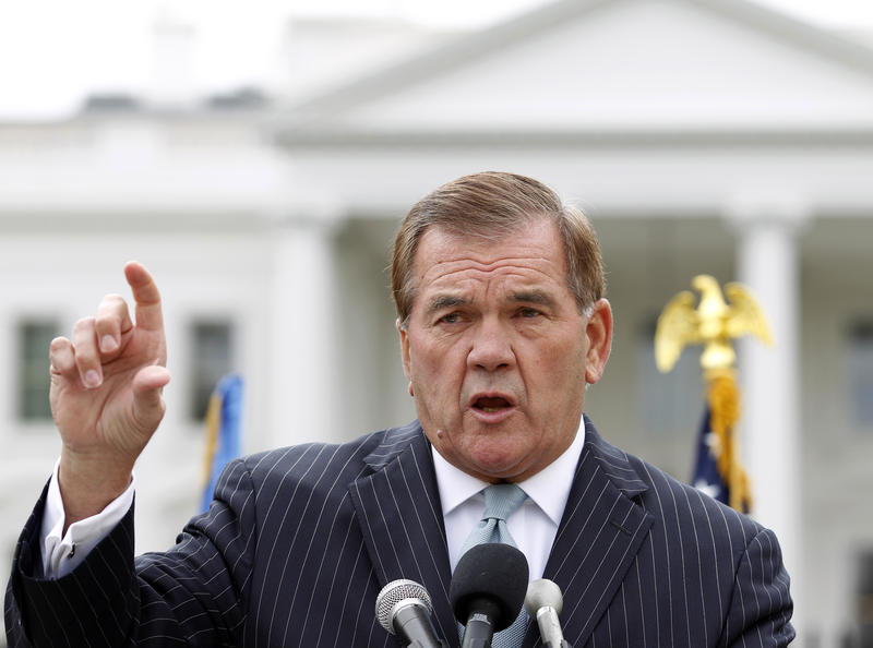 Former Secretary of Homeland Security Tom Ridge addresses hundreds of protesters outside the White House on Oct. 22, 2011. A spokesman said Thursday that Ridge is in critical condition after emergency heart surgery in Texas.