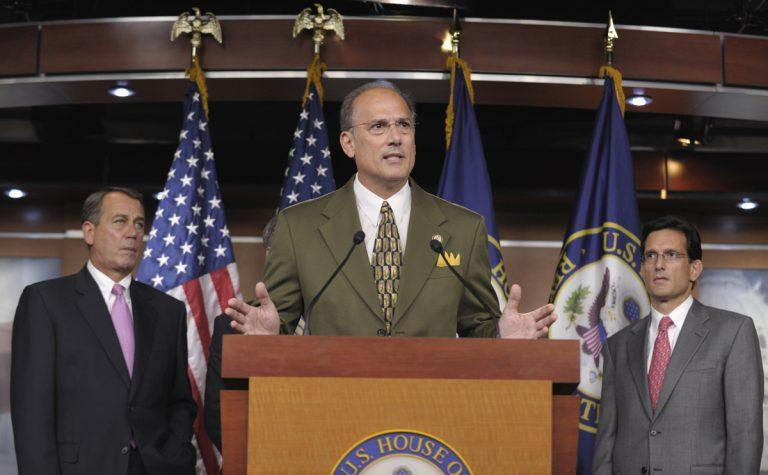 Rep. Tom Marino, R-Pa., flanked by House Speaker John Boehner of Ohio, left, and House Majority Leader Eric Cantor of Va., right, speaks during a news conference on Capitol Hill in Washington, Friday, Sept. 23, 2011.