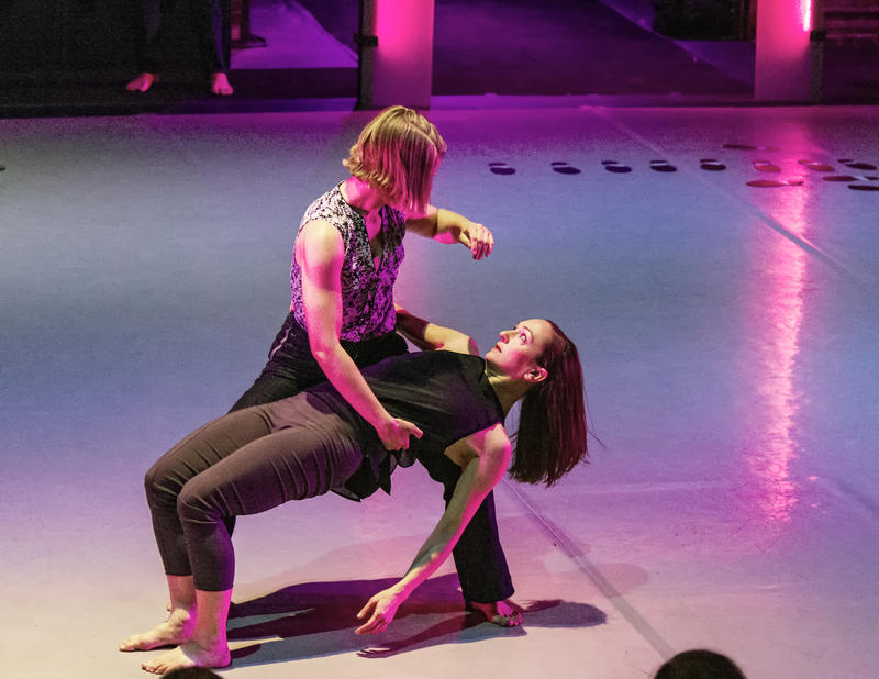"Attack Theatre company dancers Kaitlin Dann and Ashley Williams perform ""In Defense of Gravity,"" a show based on the poetry of former Allegheny County cop Jimmy Cvetic, this weekend."