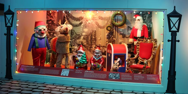 The exhibit includes items from holiday parades, and Macy's Santa land.