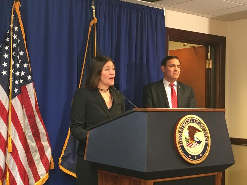 Acting U.S. Attorney Soo Song (left) and the Pittsburgh FBI's Special Agent in Charge, Bob Johnson, announce an indictment against three alleged hackers from the Chinese firm Boyusec on Tuesday, Nov. 27, 2017.