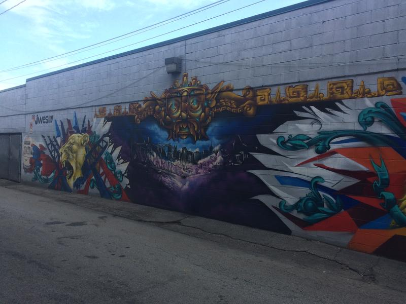 Another portion of the first mural painted along Fox Way in June, by the Hemispheric Conversations Urban Art Project.